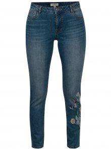 Modré zkrácené skinny džíny s výšivkou Dorothy Perkins