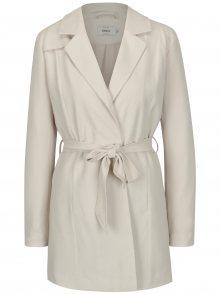 Krémový kabát s textilním páskem ONLY Dicte