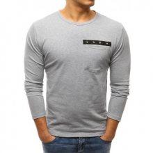 Pánské šedé tričko s kapsičkou a dlouhým rukávem