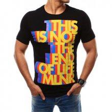 Pánské tričko s barevným potiskem černé
