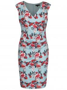 Růžovo-modré pouzdrové šaty s překládaným výstřihem Smashed Lemon