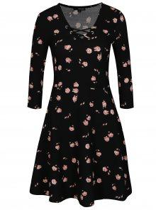 Černé květované šaty se šněrováním v dekoltu TALLY WEiJL