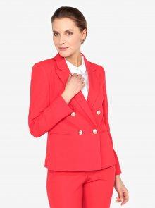 Červené sako s knoflíky ve zlaté barvě Miss Selfridge