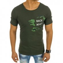 Pánské zelené tričko s camo detailem a kapsou