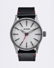 Nixon SENTRY 38 LEATHER GUNMETALWHITE