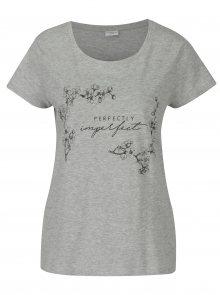 Šedé žíhané volné tričko s potiskem Jacqueline de Yong New Sky