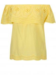 Žlutá halenka s krajkou a odhalenými rameny Dorothy Perkins