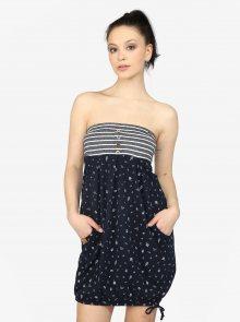 Tmavě modré balónové šaty s potiskem a kapsami Ragwear Scene