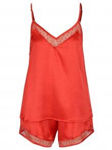 Červené dvoudílné lesklé pyžamo Dorothy Perkins
