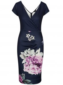Tmavě modré pouzdrové květované šaty Scarlett B