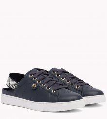 Tommy Hilfiger tmavě modré kožené boty Open Back Leather Sneaker Midnight - 36