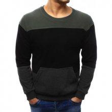 Pánský stylový svetr s kapsou antracitovo-černý