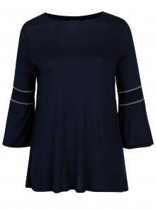 Tmavě modrá dlouhá tunika s volánovými rukávy Dorothy Perkins Curve