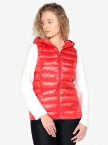 Červená dámská prošívaná vesta s kapucí QS by s.Oliver