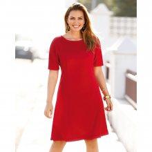 Venca Jednobarevné vypasované šaty červená 42