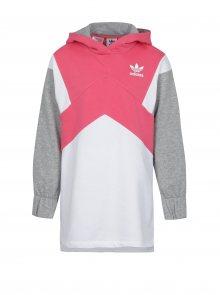 Bílo-růžová holčičí mikina s kapucí adidas Originals J M Ft Hoodie