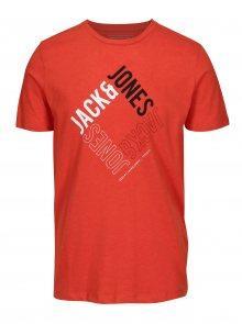 Oranžové slim fit tričko s potiskem Jack & Jones Booster