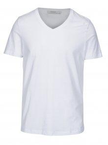 Bílé basic tričko s véčkovým výstřihem Jack & Jones Carter