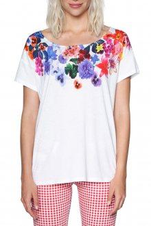 Desigual bílé tričko Aglaia s květinovými motivy - S