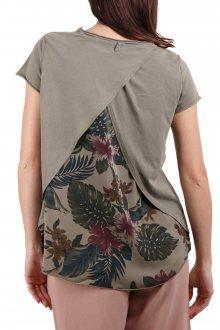 Deha khaki tričko s originálními tropickými motivy - XS