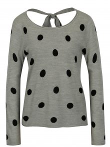 Šedý puntíkovaný svetr s mašlí na zádech Jacqueline de Yong Alice