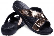 Crocs černé pantofle Sloane Hammered XSTRP Slide Black/Rose Gold - W5