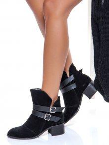 Shoestime Dámská kotníčková obuv 16K 562_SIYAH SUET-BLACK\n\n