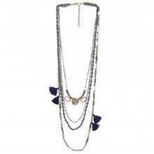 Venca Korálkový náhrdelník se střapci a přívěsky modrá/zlatá