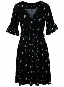 Tmavě modré vzorované šaty s volány Dorothy Perkins