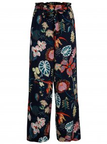 Tmavě modré volné květované kalhoty VILA Esto