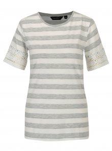 Šedo-bílé pruhované tričko s krajkou Dorothy Perkins