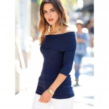 Venca Žebrovaný pulovr s odhalenými rameny námořnická modrá S