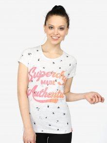 Světle šedé dámské žíhané tričko s potiskem Superdry