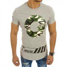 Pánské tričko s camo potiskem šedé