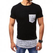 Pánské černé tričko s kontrastní kapsou s potiskem