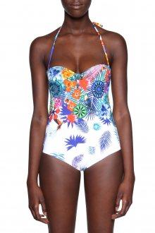 Desigual bílé jednodílné plavky Emmy s tropickými motivy