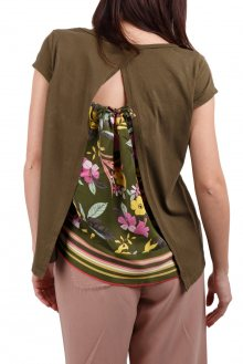 Deha khaki tričko s pestrobarevnými motivy - XS