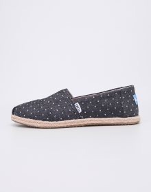Toms Classic Black Dot Chambray Rope Sole 36