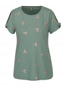 Světle zelené tričko s potiskem a průstřihy na ramenou ONLY New Isabella