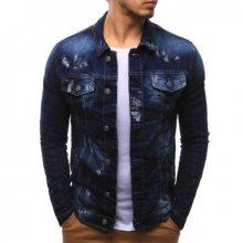 Pánská moderní bunda jeansová tmavě modrá