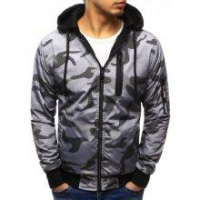 Pánská stylová bunda oboustranná maskáčový vzor s kapucí šedá