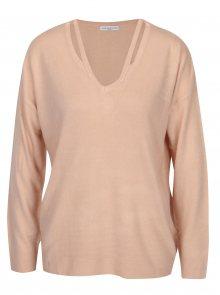 Světle růžový svetr s průstřihy Jacqueline de Yong More