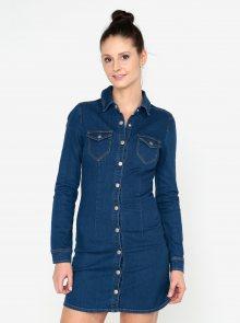 Modré džínové košilové minišaty MISSGUIDED