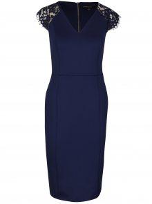 Tmavě modré pouzdrové šaty s krajkou Dorothy Perkins