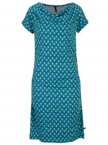 Tyrkysové vzorované šaty s řasením v dekoltu Tranquillo Petraea