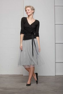 Deha šedá tylová sukně se zvýšeným pasem - XS