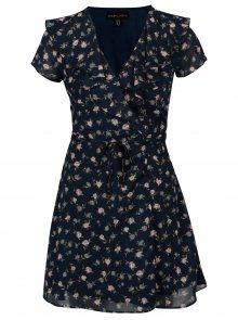 Tmavě modré květované zavinovací šaty Mela London