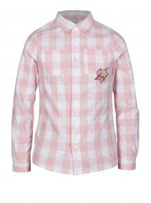 Krémovo-růžová holčičí kostkovaná košile s výšivkou 5.10.15.