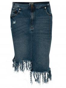 Modrá asymetrická džínová sukně s třásněmi ONLY Summer