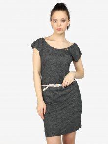 Tmavě šedé žíhané šaty s pásky na zádech Ragwear Sofia